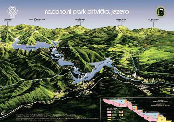 Mappa del Parco Nazionale dei Laghi di Plitivice