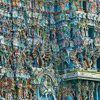 India - Trichy - Particolare della facciata del Tempio di Sri Ranganathaswamy