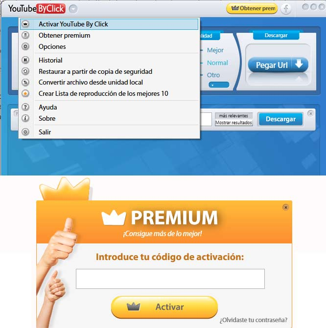 Activar YouTube by Click