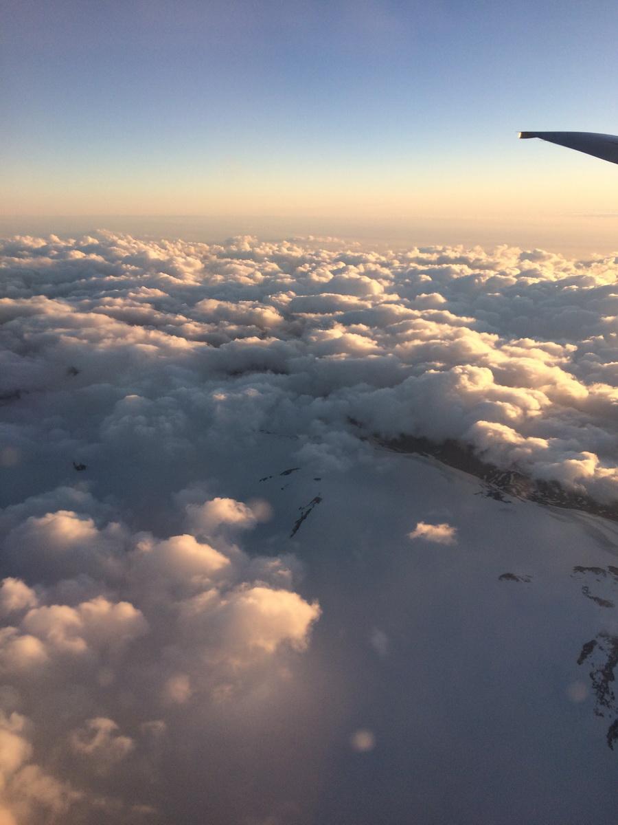tappeto di nuvole dall'aereo